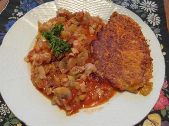 Kuřecí flamendr a batátové bramboráky