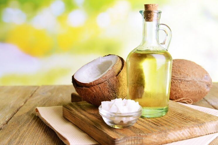 coconut oil in liquid and solid forms