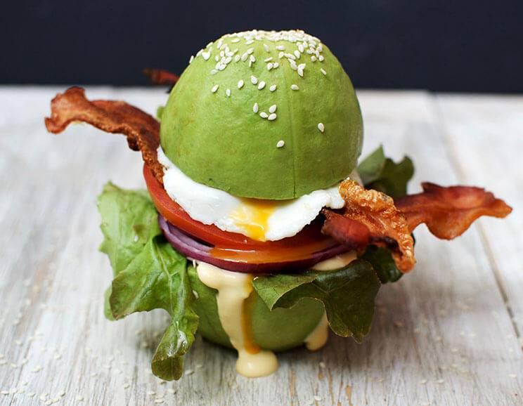 Keto Breakfast Burger with Avocado Buns
