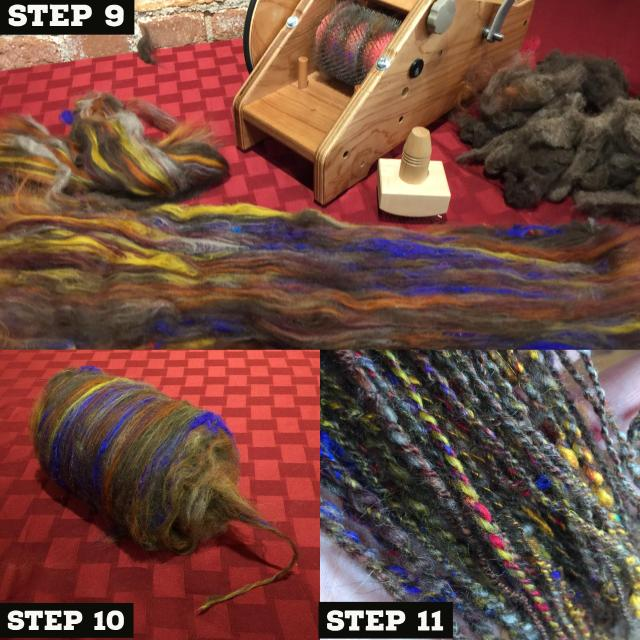 Rolling the Batt tightly to create a center pull bump to spin from. The finished 2-ply yarn.
