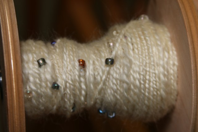 2-Ply Beaded Milky Mohair Yarn.
