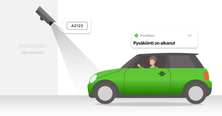 Autoilija ajaa pysäköintihalliin