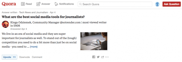 Quora journalism news