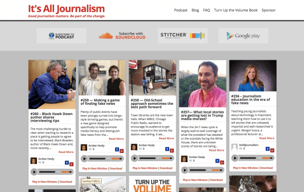 homepage for It's All Journalism podcast