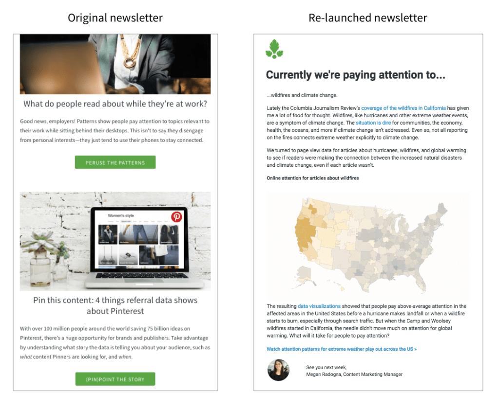 Parse.ly's newsletter before and after redesign