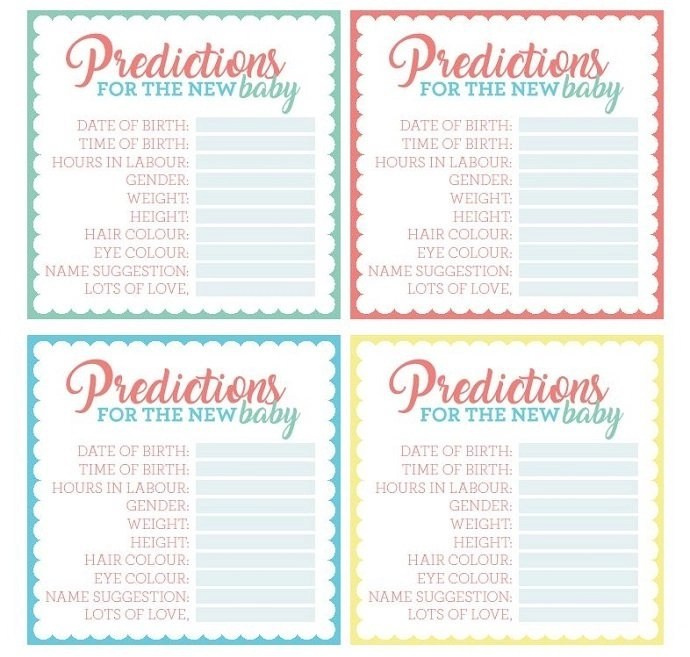 Free Printable Baby Shower Prediction Cards Party Delights
