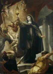 Santa Clara de Asís ahuyentando a los infieles con la Eucaristía, Arredondo, 1693.