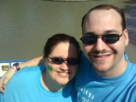 Monkey Mamma and Supporter Wearing Bright Blue PatientsLikeMeInMotion T-shirts