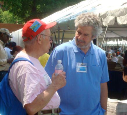 Research Scientist Mike Massagli Talking to a Patient at Wellness Fair Following the 2008 AIDS Walk Boston
