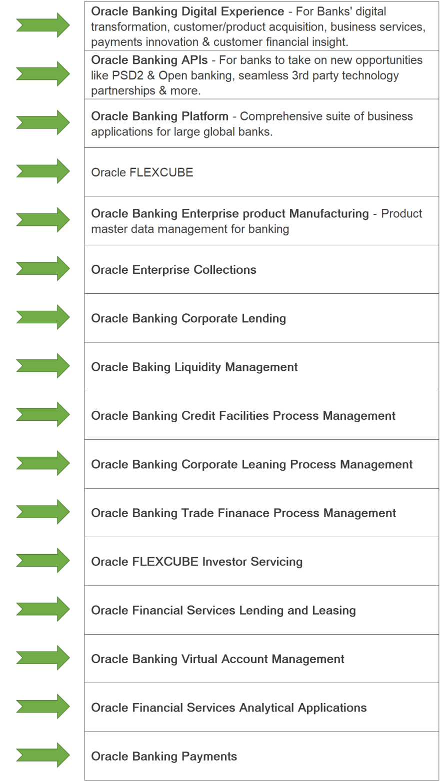 products offered by oracle to HDFC bank, yes bank and many more financial institutions
