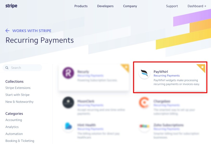 Stripe works with PayWhirl