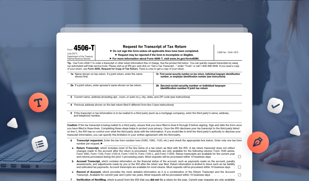 Request Previous Tax Returns With Form 4506 T Pdffiller