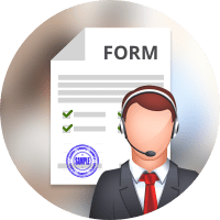 Man in headphones and business suit (typical support center guy) on top of paper form