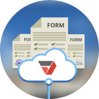PDFfiller logo inside cloud on top of three paper forms