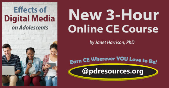 Effects of Digital Media on Adolescents is a 3-hour online continuing education (CE/CEU) course that explores how digital media is affecting teens of successive generations.