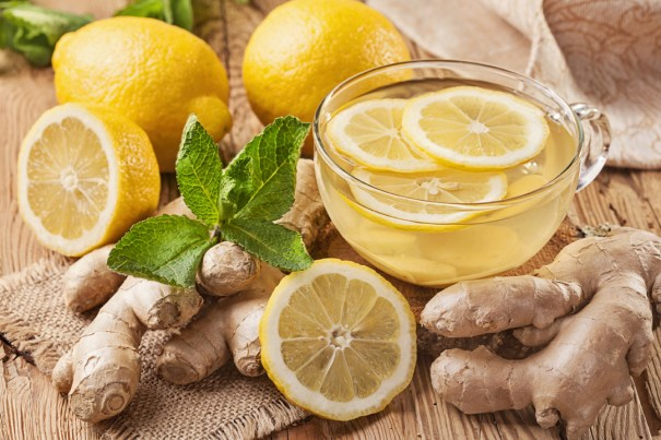 Hot Ginger tea with lemon