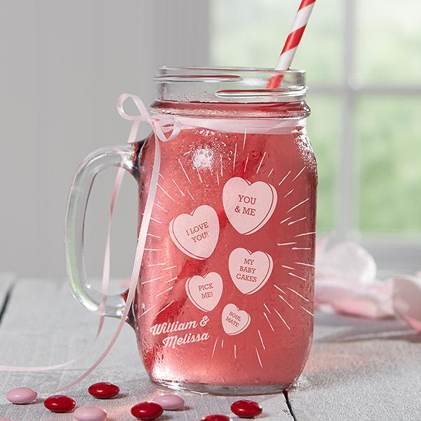 Conversation Hearts Custom Mason Jar Glass