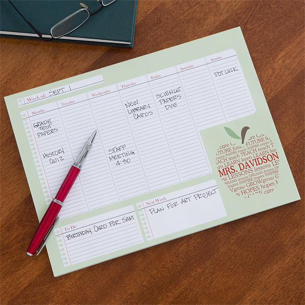 custom calendar pad for teachers