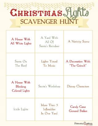 Christmas Lights Scavenger Hunt Free Printable