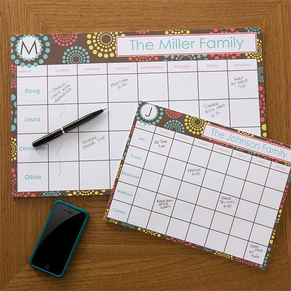 simply organized calendar pad