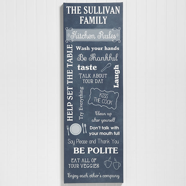 Kitchen Rules Personalized Canvas Print