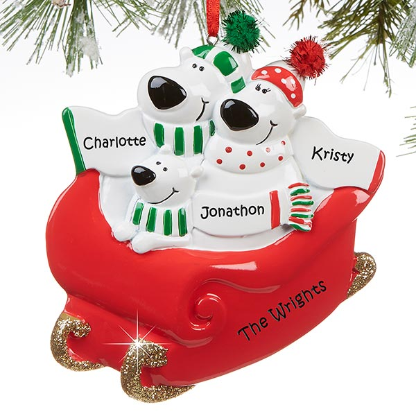 Polar Bear Family Personalized Ornament
