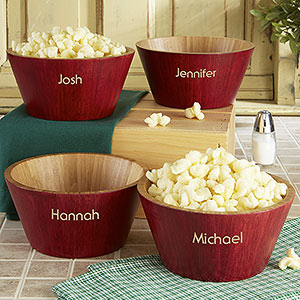 Personalized Red Bamboo Popcorn Bowls