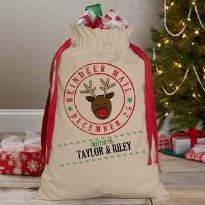Reindeer Mail Personalized Canvas Drawstring Santa Sack