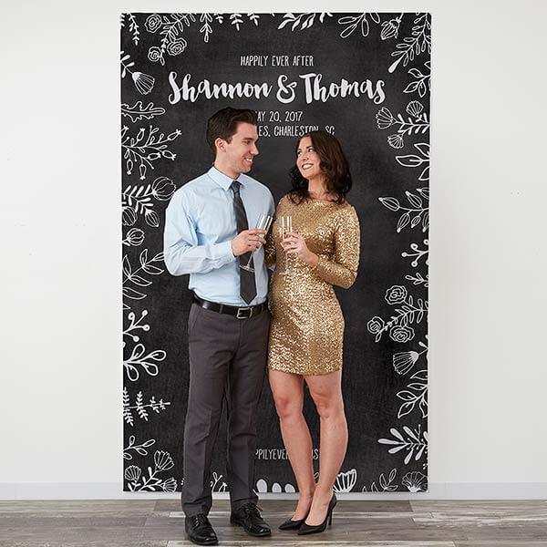 Chalkboard Wedding Personalized Photo Backdrop