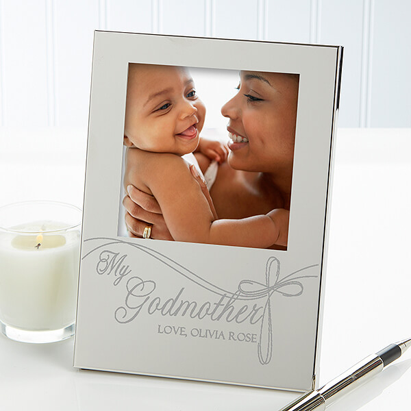 Personalized Engraved Silver Picture Frame for Godparents