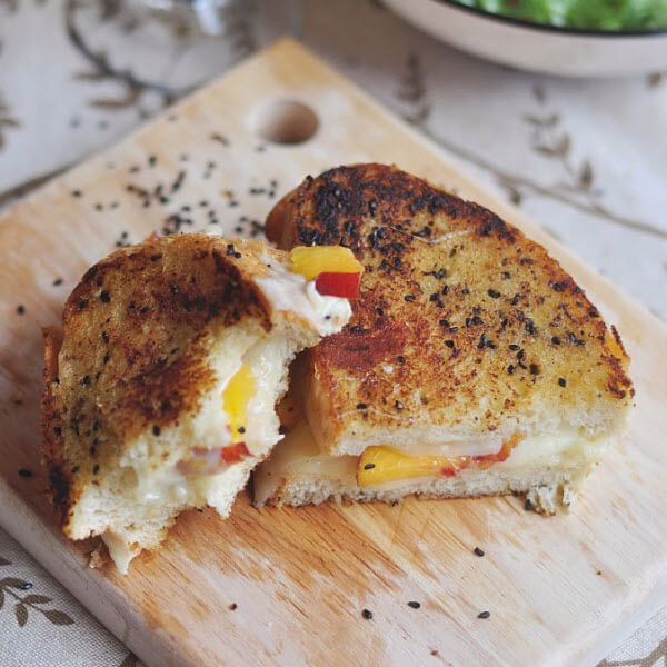 Peach Grilled Cheese With Miso & Black Sesame Butter