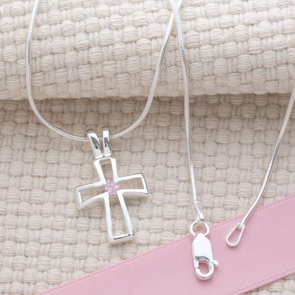 Birthstone Cross Necklace