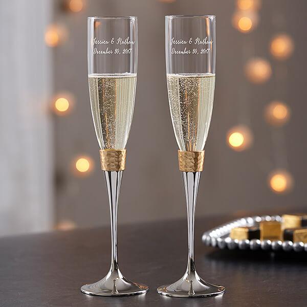 Gold Hammered Engraved Champagne Flute Set