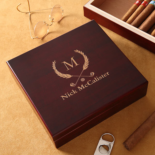 Personalized Golf Club Cherry Wood Cigar Humidor