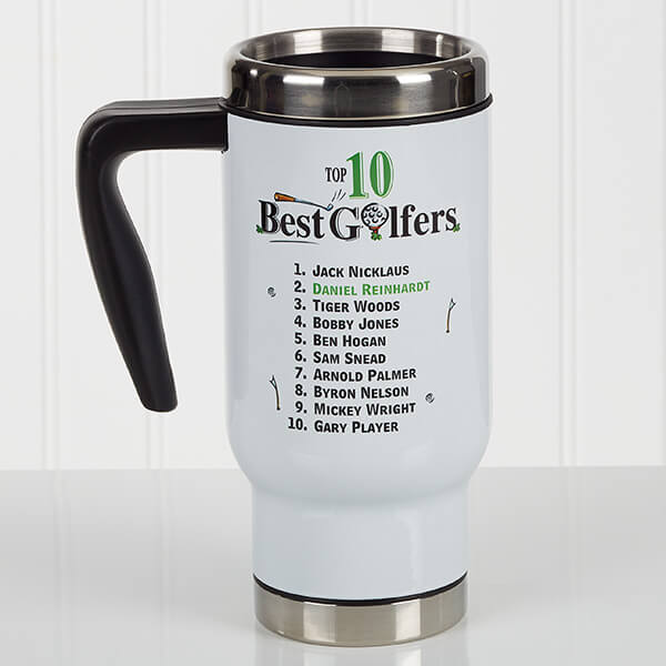 Top 10 Golfers Personalized Travel Mug