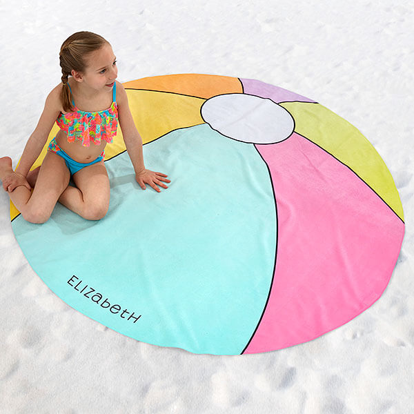 Personalized Beach Ball Round Beach Towels