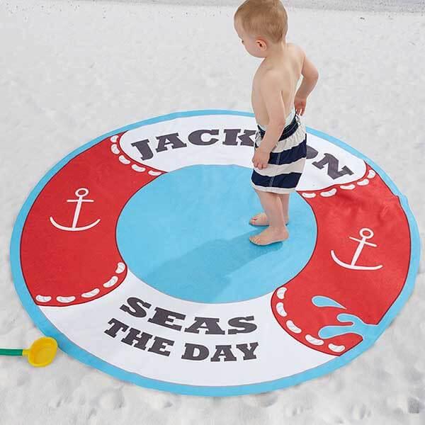 Life Preserver Personalized Round Beach Towel