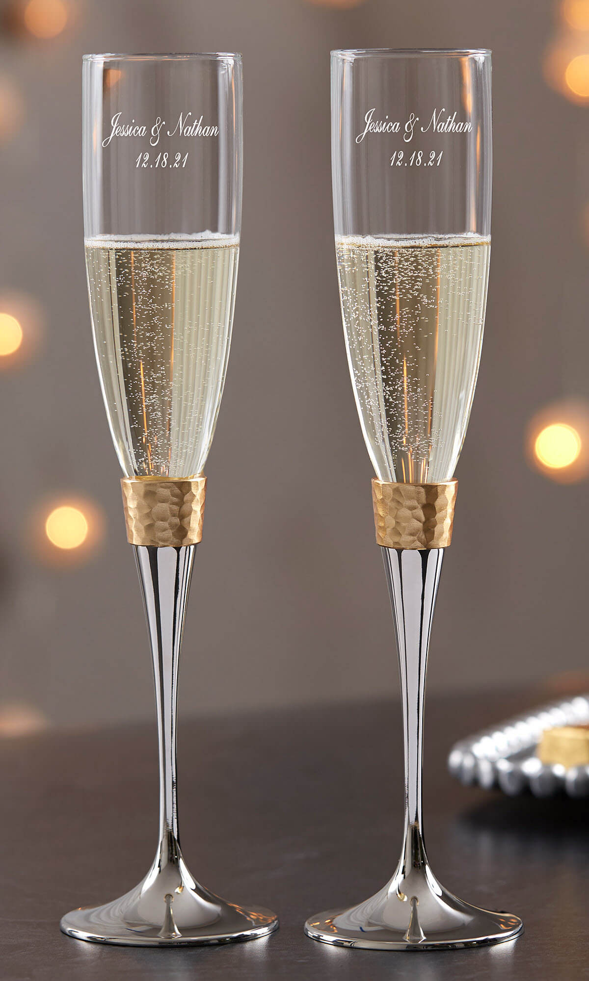 50th Anniversary Gifts - Gold Champagne Flutes