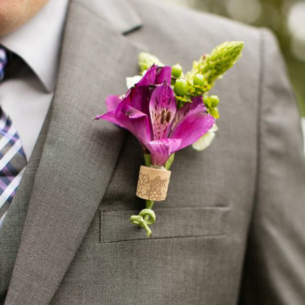 Wine Cork Wedding Ideas - Boutonniere