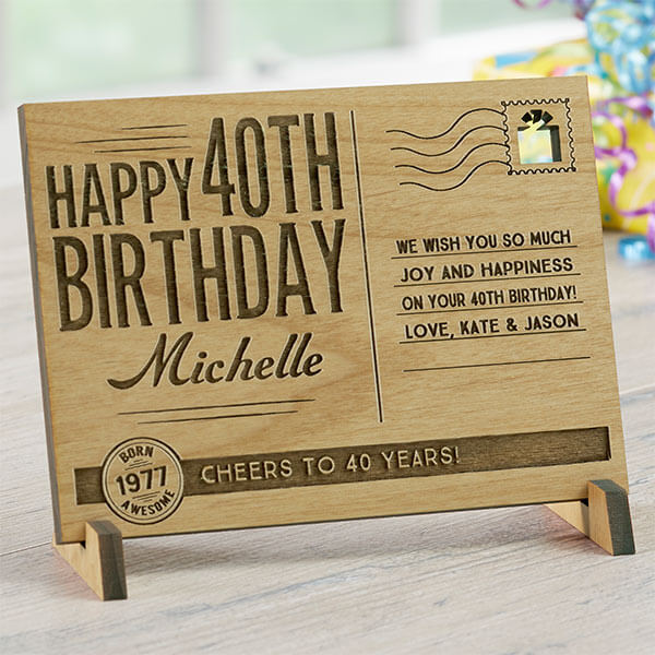 Sending Vintage Birthday Wishes To You Personalized Wood Postcard