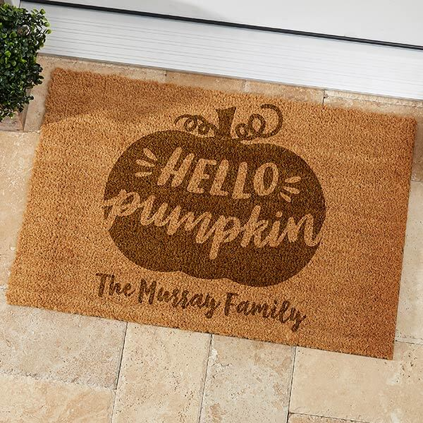 Hello Pumpkin  Personalized Fall Doormat