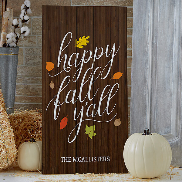 Happy Fall Y'all Large Wooden Sign