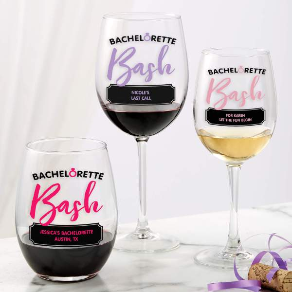 Personalized Bachelorette Party Wine Glasses