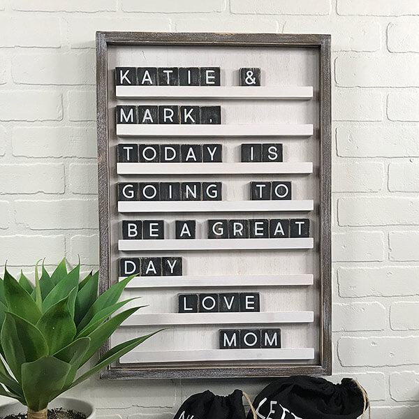 Whitewashed Wood Letter Board - Kitchen Counter Decor Ideas