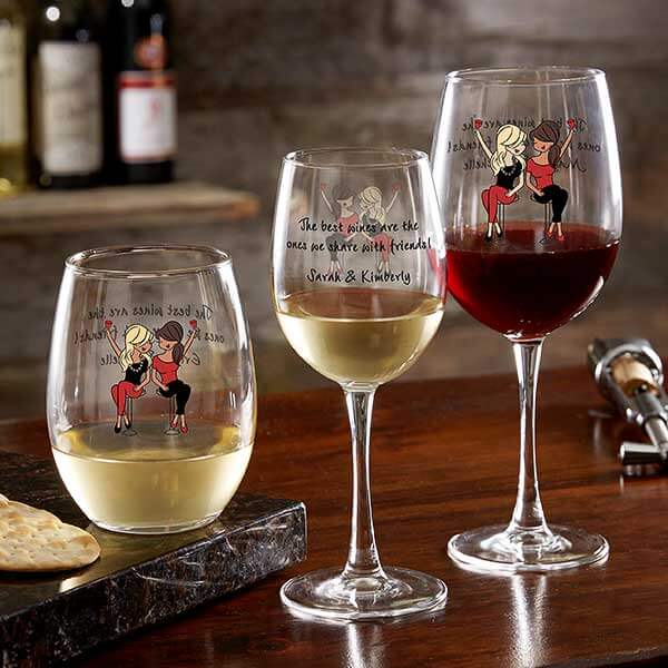 Best Friend Personalized Wine Glasses by philoSophie's