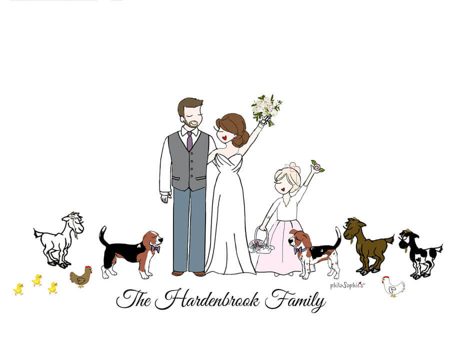 Custom wedding family illustration by philoSophie's