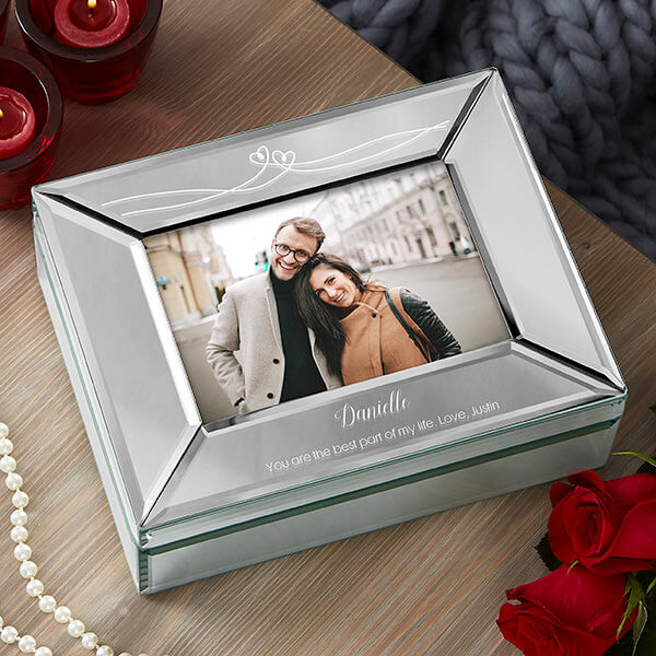 Engraved Mirror Photo Box