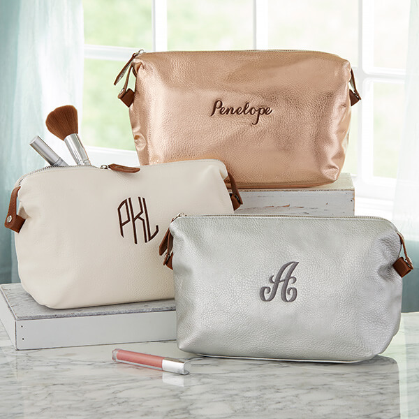 Personalized Leather Makeup Bag