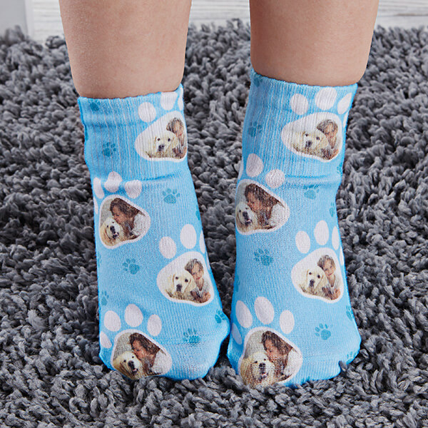 Paw Print Custom Dog Socks for Toddlers