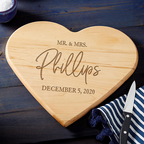 Mr & Mrs Heart Shaped Cutting Board